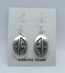 Oval Hopi Sterling Silver Overlay Dangle Earrings, Ambrose Namoki
