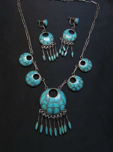 Image 0 of Zuni Annie Quam Gasper Turquoise Inlay Necklace Earrings Vintage Masterpiece Set
