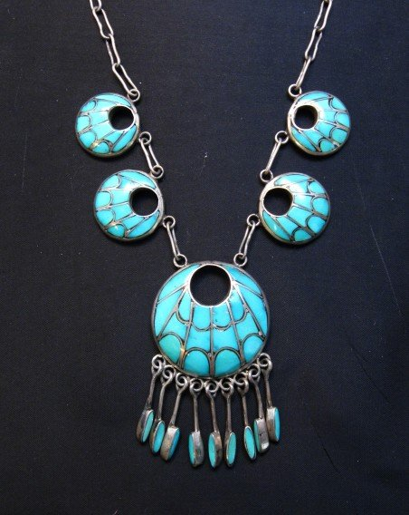 Image 1 of Zuni Annie Quam Gasper Turquoise Inlay Necklace Earrings Vintage Masterpiece Set