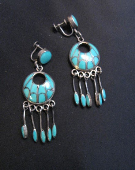 Image 2 of Zuni Annie Quam Gasper Turquoise Inlay Necklace Earrings Vintage Masterpiece Set