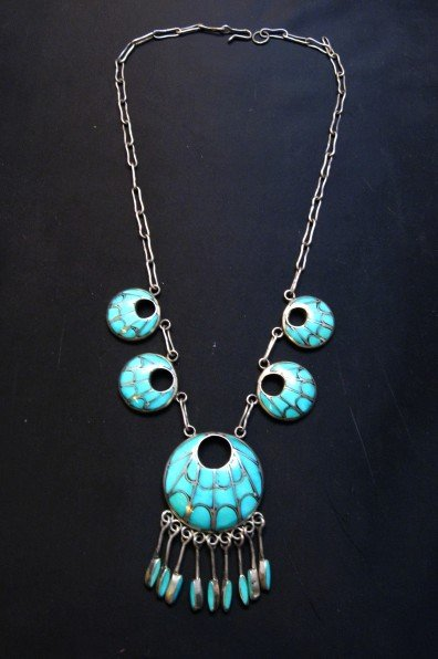 Image 6 of Zuni Annie Quam Gasper Turquoise Inlay Necklace Earrings Vintage Masterpiece Set