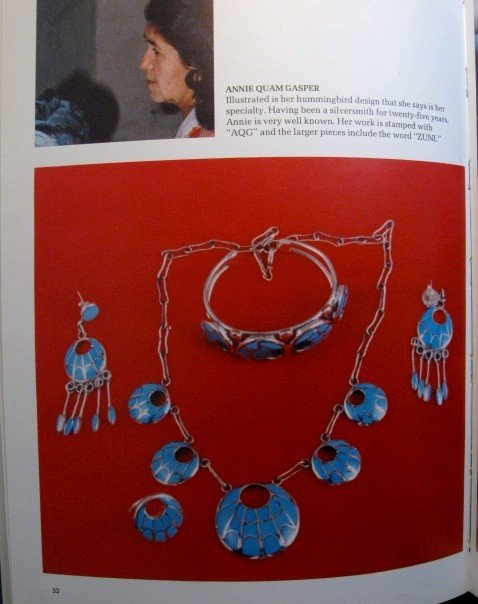 Image 8 of Zuni Annie Quam Gasper Turquoise Inlay Necklace Earrings Vintage Masterpiece Set