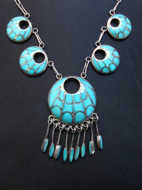 Image 5 of Zuni Annie Quam Gasper Turquoise Inlay Necklace Earrings Vintage Masterpiece Set