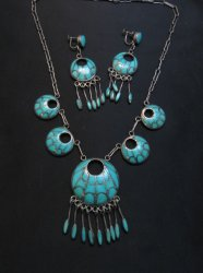 Zuni Annie Quam Gasper Turquoise Inlay Necklace Earrings Vintage Masterpiece Set