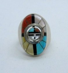 Don Dewa Zuni Inlaid Sunface Spinner Ring Sz8-1/4