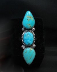 Long Navajo Triple Turquoise Silver Ring Everett and Mary Teller sz8-1/4