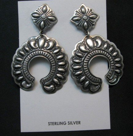 Image 0 of Extra Large Darryl Becenti Navajo Repousse Naja Sterling Earrings