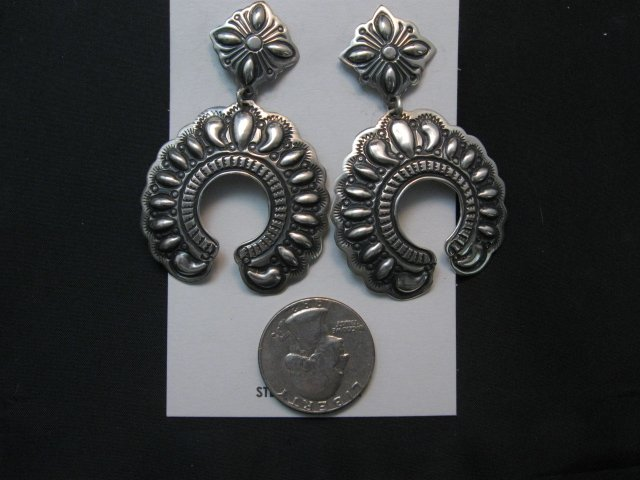 Image 1 of Extra Large Darryl Becenti Navajo Repousse Naja Sterling Earrings