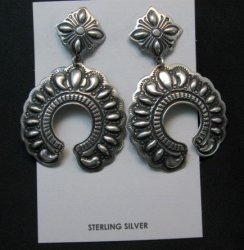 Extra Large Darryl Becenti Navajo Repousse Naja Sterling Earrings