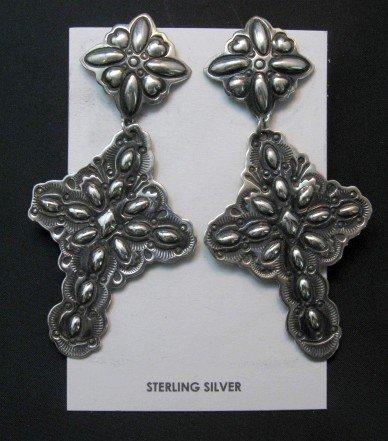 Image 0 of Big Darryl Becenti Navajo Repousse Silver Cross Earrings