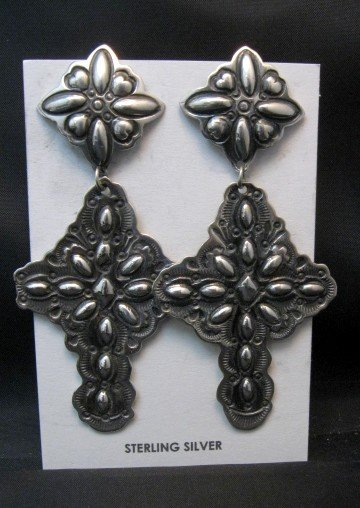 Image 1 of Big Darryl Becenti Navajo Repousse Silver Cross Earrings