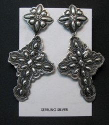 Big Darryl Becenti Navajo Repousse Silver Cross Earrings