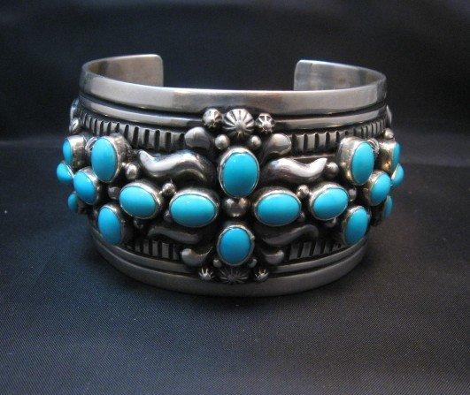 Image 1 of Navajo Darryl Becenti Sleeping Beauty Turquoise Cross Silver Bracelet