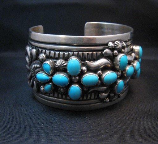 Image 2 of Navajo Darryl Becenti Sleeping Beauty Turquoise Cross Silver Bracelet
