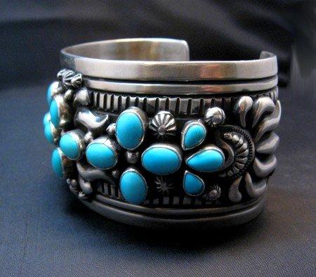 Image 3 of Navajo Darryl Becenti Sleeping Beauty Turquoise Cross Silver Bracelet
