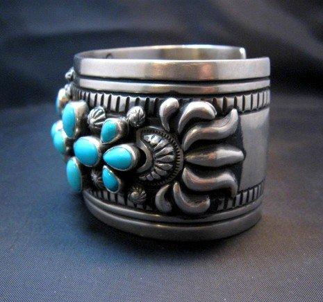 Image 4 of Navajo Darryl Becenti Sleeping Beauty Turquoise Cross Silver Bracelet