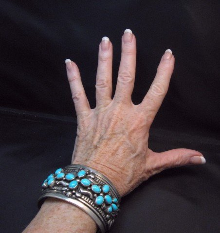 Image 5 of Navajo Darryl Becenti Sleeping Beauty Turquoise Cross Silver Bracelet
