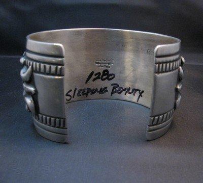 Image 7 of Navajo Darryl Becenti Sleeping Beauty Turquoise Cross Silver Bracelet