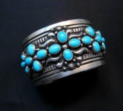 Navajo Darryl Becenti Sleeping Beauty Turquoise Cross Silver Bracelet