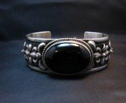 Navajo Native American Onyx Silver Bracelet, Darryl Becenti