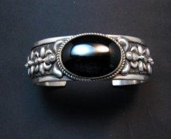 Large Navajo Native American Onyx Silver Bracelet, Darryl Becenti