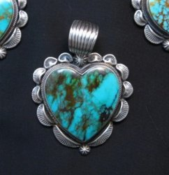 Navajo Native American Turquoise Sterling Silver Heart Pendant, Randy Boyd