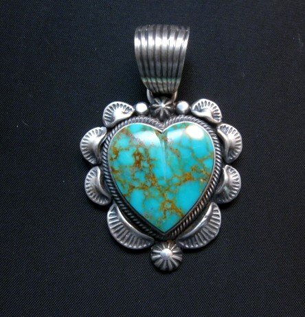Image 0 of Navajo Kingman Turquoise Sterling Silver Heart Pendant, Randy Boyd