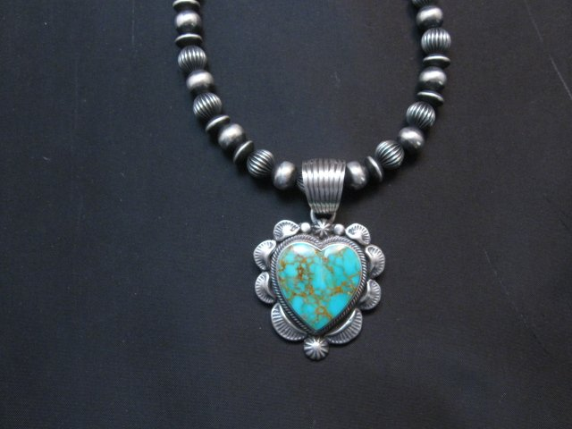 Image 1 of Navajo Kingman Turquoise Sterling Silver Heart Pendant, Randy Boyd