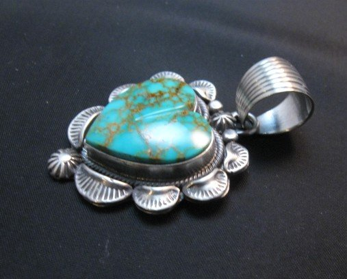 Image 2 of Navajo Kingman Turquoise Sterling Silver Heart Pendant, Randy Boyd