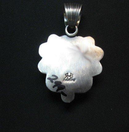 Image 3 of Navajo Kingman Turquoise Sterling Silver Heart Pendant, Randy Boyd