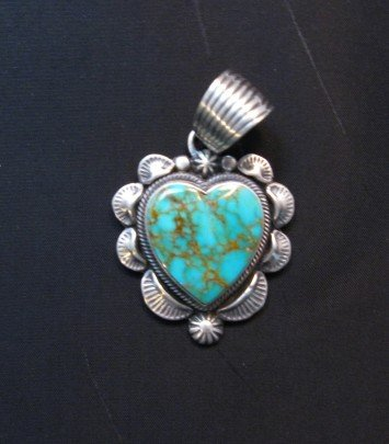 Image 4 of Navajo Kingman Turquoise Sterling Silver Heart Pendant, Randy Boyd