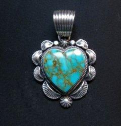 Navajo Kingman Turquoise Sterling Silver Heart Pendant, Randy Boyd