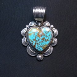 Navajo Native American Turquoise Silver Heart Pendant, Randy Boyd