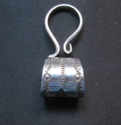 Fancy Navajo 10mm Stamped Sterling Silver Bale, Freddy Platero