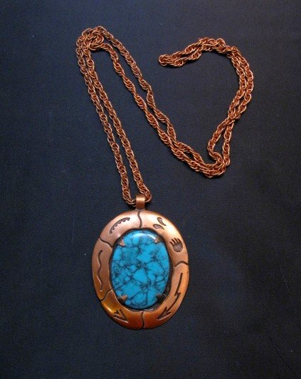 Image 0 of Vintage Native American Faux Turquoise Copper Bell Trading Post Necklace Pendant