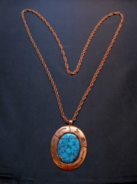Image 3 of Vintage Native American Faux Turquoise Copper Bell Trading Post Necklace Pendant