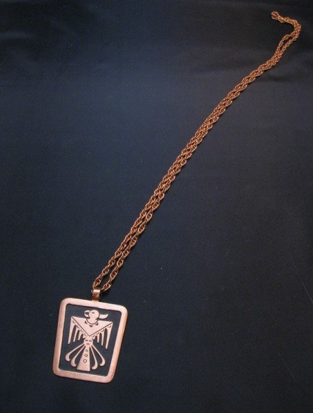 Image 3 of Vintage Native American Copper Bell Trading Post Necklace Pendant