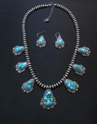 Navajo Randy Boyd Turquoise Silver Bead Necklace Earring Set, Native American