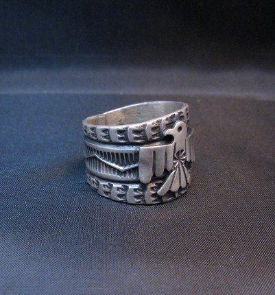 Image 1 of Sunshine Reeves ~ Navajo ~ Stamped Sterling Silver Thunderbird Ring sz9-3/4