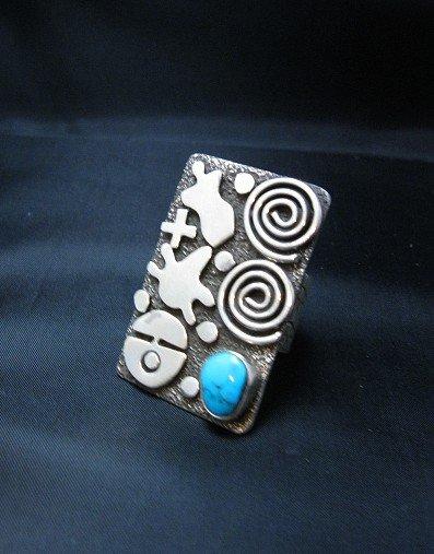 Image 0 of Alex Sanchez Navajo Petroglyph Turquoise Silver Ring sz7, Native American