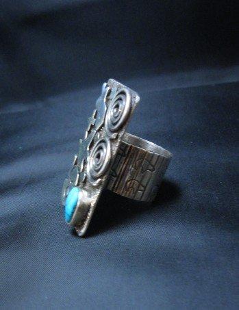 Image 2 of Alex Sanchez Navajo Petroglyph Turquoise Silver Ring sz7, Native American