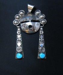 Huge Alex Sanchez Navajo Turquoise Silver Hopi Maiden Pendant