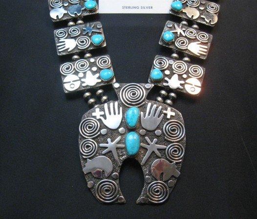 Image 8 of Alex Sanchez Navajo Squash Blossom Turquoise Necklace Earring Set