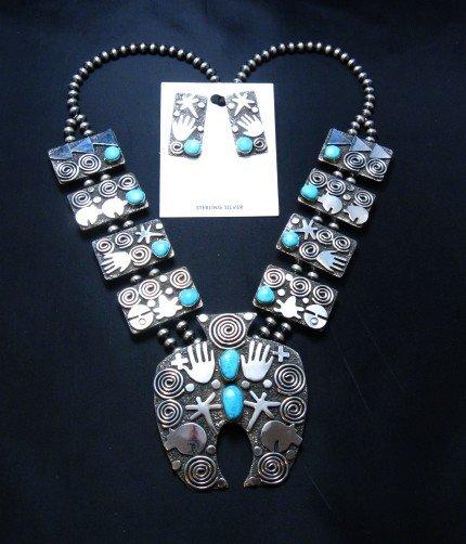 Image 0 of Alex Sanchez Navajo Squash Blossom Turquoise Necklace Earring Set
