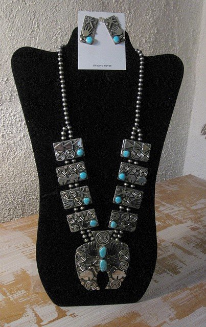 Image 4 of Alex Sanchez Navajo Squash Blossom Turquoise Necklace Earring Set