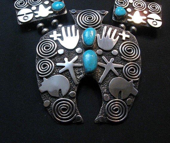 Image 1 of Alex Sanchez Navajo Squash Blossom Turquoise Necklace Earring Set