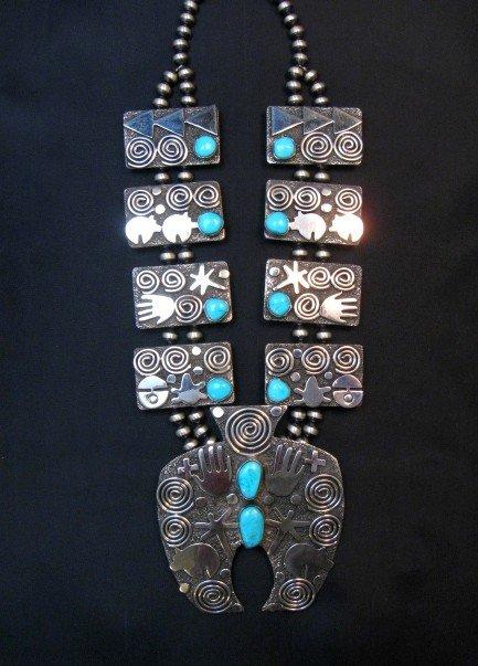 Image 6 of Alex Sanchez Navajo Squash Blossom Turquoise Necklace Earring Set