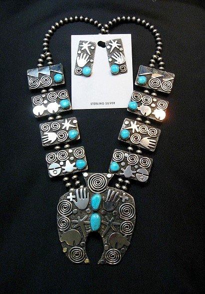 Image 2 of Alex Sanchez Navajo Squash Blossom Turquoise Necklace Earring Set