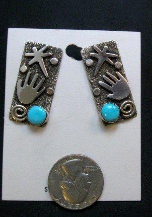 Image 5 of Alex Sanchez Navajo Squash Blossom Turquoise Necklace Earring Set