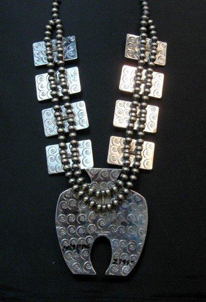 Image 3 of Alex Sanchez Navajo Squash Blossom Turquoise Necklace Earring Set